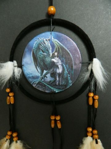 Printed DREAM CATCHER Small Diameter 9cm - Magic Dragon & Unicorn